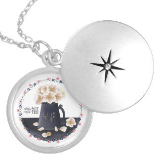 White poppy bouquet silver plated necklace