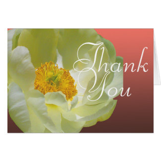 White Poppy Color Photo Chic Mod Floral Thank You Card