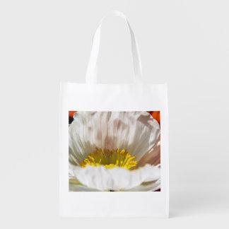White Poppy Reusable Bag Grocery Bag
