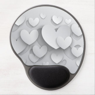 White Popup Hearts Gel Mouse Pad