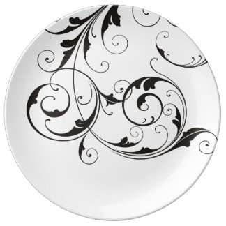 White Porcelain Plate with Black Swirls