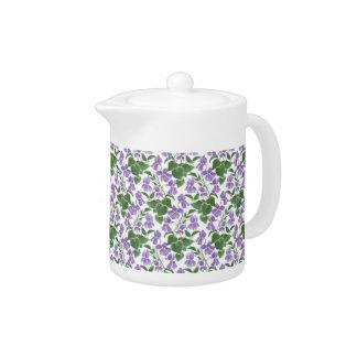 White Porcelain Teapot, Sweet Violets Pattern Teapot