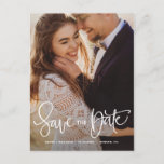 """White Pretty Hand Lettering Photo Save the Date II Announcement Postcard<br><div class=""""desc"""">An elegant and modern portrait photo save the date postcard featuring modern calligraphy. Personalize this save the date announcement by adding your own photo and details. A landscape version is available in my shop.</div>"""