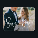 """White Pretty Hand Lettering Photo Save the Date Magnet<br><div class=""""desc"""">An elegant and modern photo save the date magnet featuring modern calligraphy. Personalize this save the date magnet by adding your own photo and details. Similar items are available in my shop.</div>"""