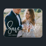 "White Pretty Hand Lettering Photo Save the Date Magnet<br><div class=""desc"">An elegant and modern photo save the date magnet featuring modern calligraphy. Personalize this save the date magnet by adding your own photo and details. Similar items are available in my shop.</div>"