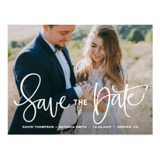 White Pretty Hand Lettering Photo Save the Date Postcard