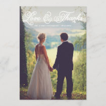 White Pretty Script Wedding Photo Thank You Card
