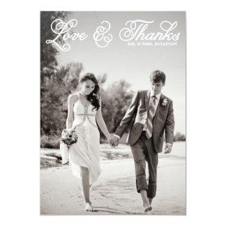 White Pretty Script Wedding Thank You Flat Card
