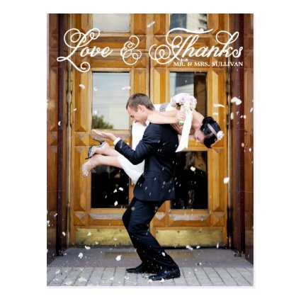 bride groom in snow wedding Thank You Postcard