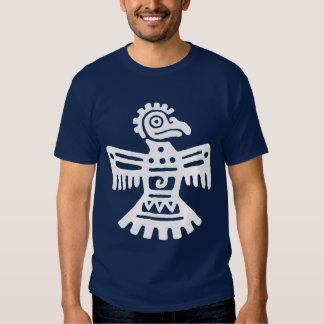 White Primitive Aztec Bird Symbol Southwestern Shirt