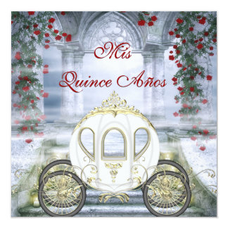 White Princess Carriage Enchanted Quinceanera Card