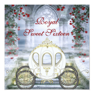 White Princess Carriage Enchanted Sweet 16 5.25x5.25 Square Paper Invitation Card