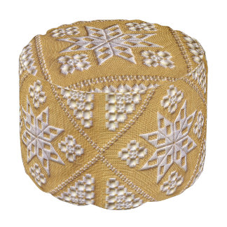 White PRINTED cutwork embroidery on linen custom Pouf