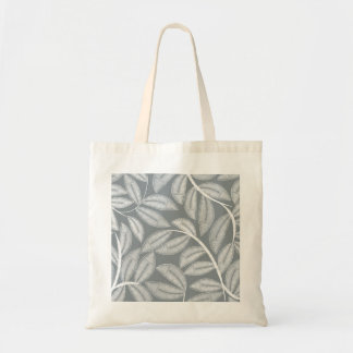 White printed embroidery leaves tote bag