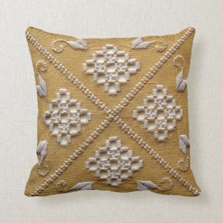 White PRINTED embroidery on linen custom Throw Pillow