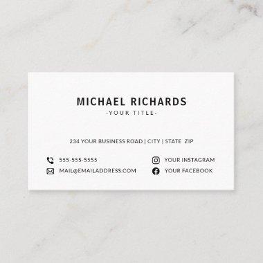 White professional modern custom logo social media business card