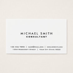 White Professional Plain Elegant Modern Simple Business Card at Zazzle