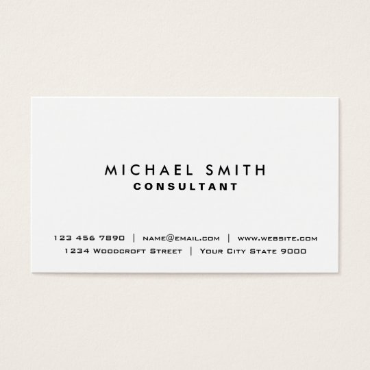 White professional plain elegant modern simple business card