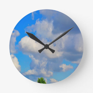 White Puffs in The Sky Round Wallclocks