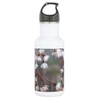 white puffs of flowers streaming downwards 18oz water bottle