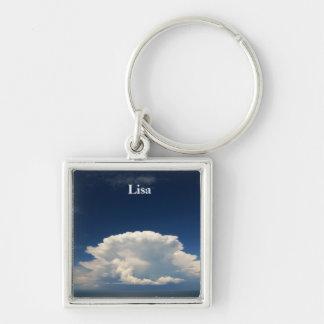White Puffy Cloud Photo Keychain