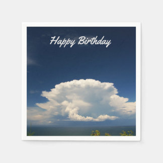 White Puffy Cloud Photo Napkin