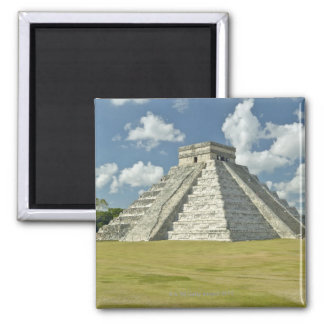 White puffy clouds over the Mayan Pyramid 2 Inch Square Magnet