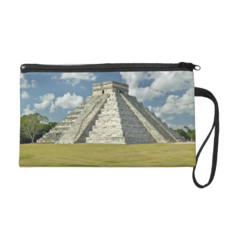 White puffy clouds over the Mayan Pyramid Wristlet