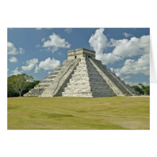 White puffy clouds over the Mayan Pyramid Greeting Card
