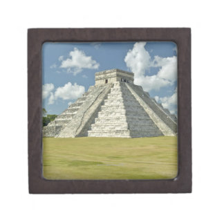 White puffy clouds over the Mayan Pyramid Jewelry Box