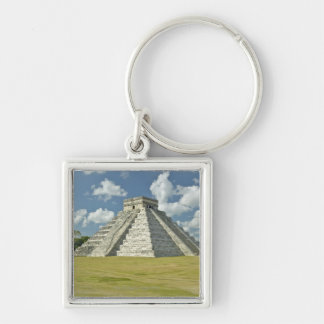 White puffy clouds over the Mayan Pyramid Keychain