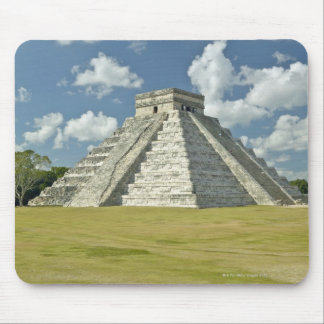 White puffy clouds over the Mayan Pyramid Mouse Pad
