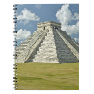 White puffy clouds over the Mayan Pyramid Spiral Notebooks