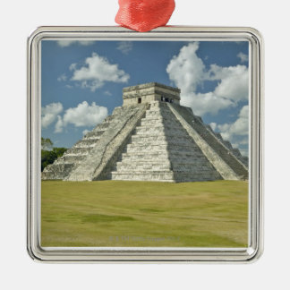 White puffy clouds over the Mayan Pyramid Christmas Tree Ornaments