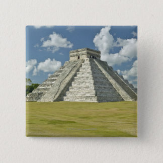 White puffy clouds over the Mayan Pyramid Pinback Button