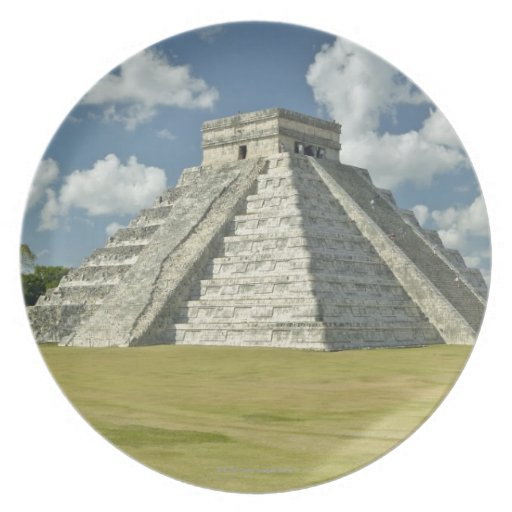 White puffy clouds over the Mayan Pyramid Plates