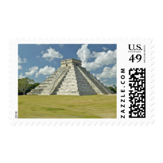 White puffy clouds over the Mayan Pyramid Postage Stamp
