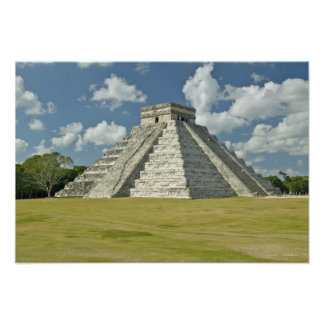 White puffy clouds over the Mayan Pyramid Poster