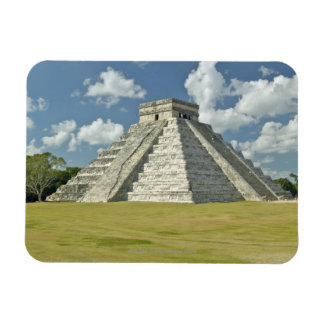 White puffy clouds over the Mayan Pyramid Rectangular Photo Magnet