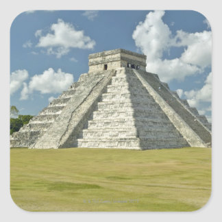 White puffy clouds over the Mayan Pyramid Square Sticker