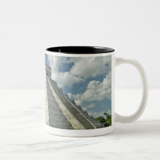 White puffy clouds over the Mayan Pyramid Two-Tone Coffee Mug