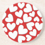 White Puffy Hearts Drink Coaster