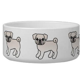 White Pug Cartoon Dog Illustration Bowl