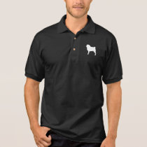 White Pug Silhouette Polo Shirt