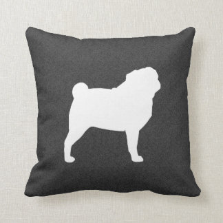 White Pug Silhouette Throw Pillow