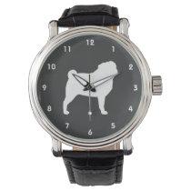 White Pug Silhouette Wristwatches