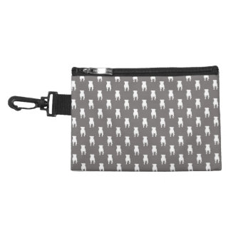 White Pug Silhouettes on Grey Background Accessory Bag