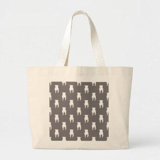 White Pug Silhouettes on Grey Background Jumbo Tote Bag
