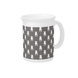 White Pug Silhouettes on Grey Background Beverage Pitcher