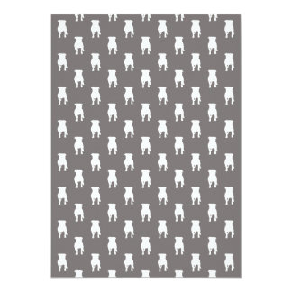 White Pug Silhouettes on Grey Background Card